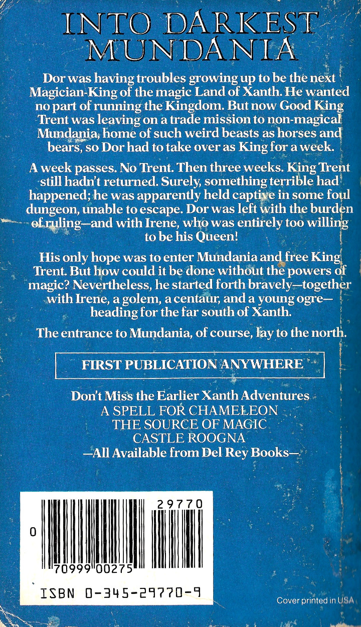 Centaur Aisle by Piers Anthony - Back Cover