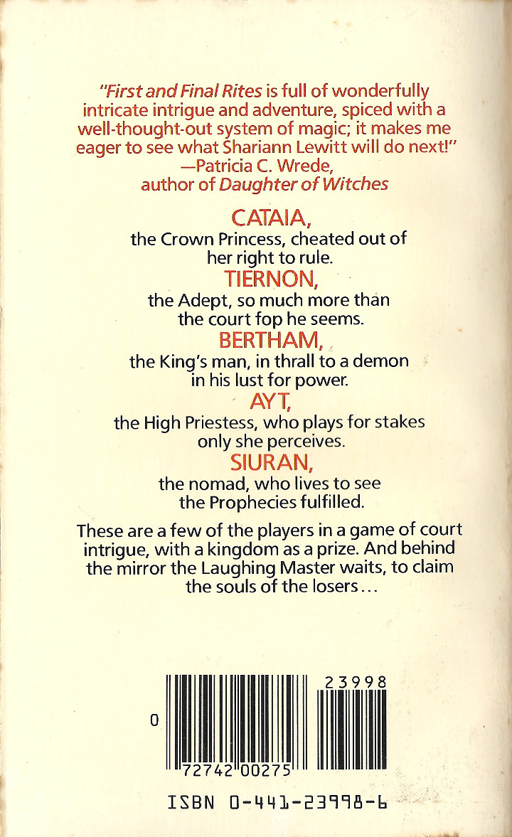 First and Final Rites by Shariann Lewitt - Back Cover