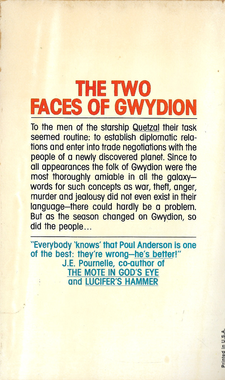 The Night Face by Poul Anderson - Back Cover