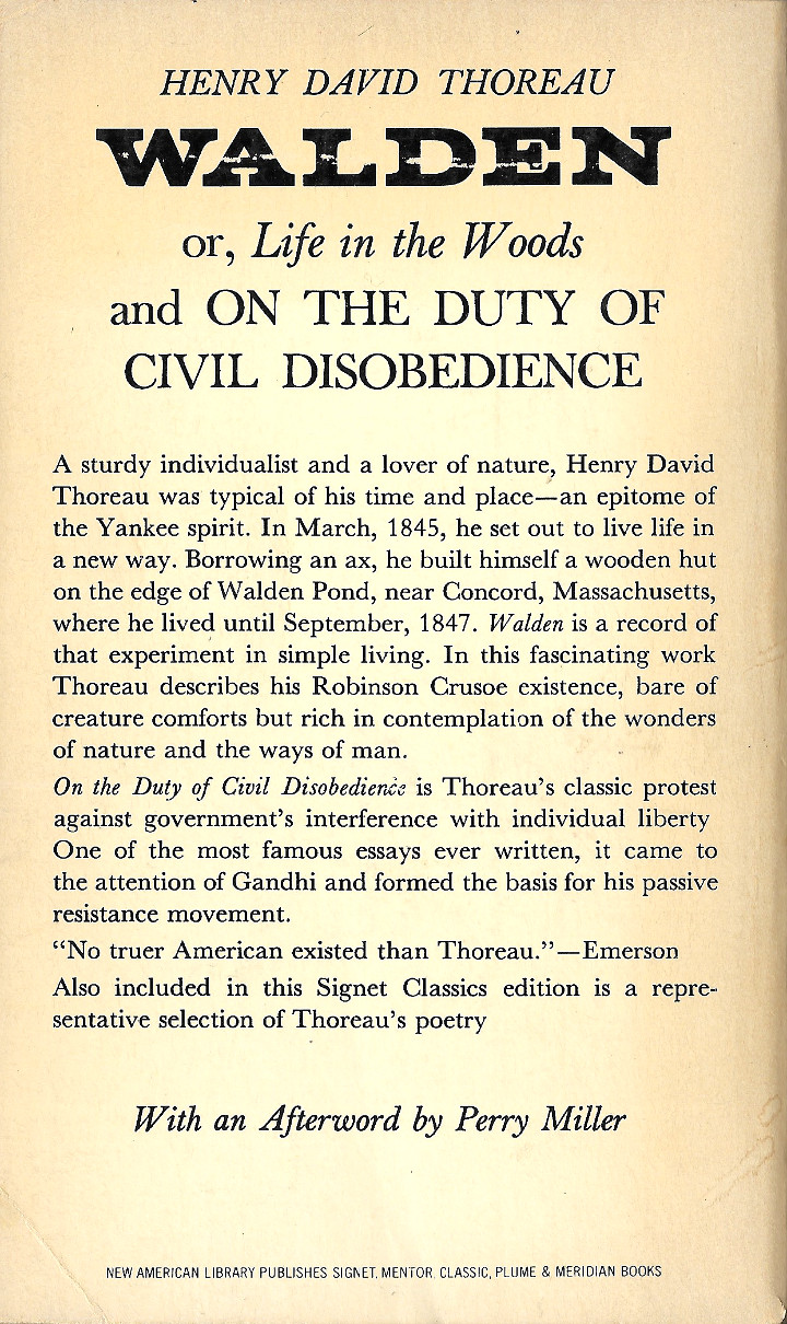 """Walden and """"Civil Disobedience"""" by Henry David Thoreau (Signet Classics)"""